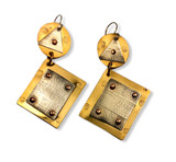 Rustic Earrings with etched silver, stamped brass, coper rivets
