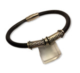 "Black Round Leather Bracelet-sterling silver with braided accent tubing  .25"" x 8""  stainless steel magnetic clasp"