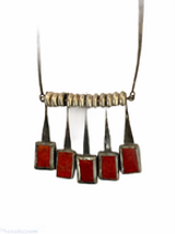 Hand forged oxidized sterling silver and sponge coral necklace