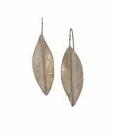 Sterling silver fused fold formed copper leaf earrings