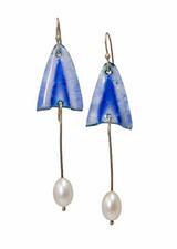 Opalescent blue enamel tulip earrings with pearl drops
