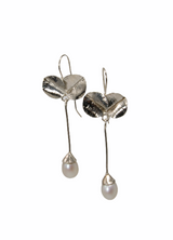 Sterling silver leaves and  pearl drops