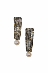 Sterling silver textured post earrings with pearls
