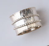 """Sterling silver wide band """"spinner"""" ring with two spinning bands size 9 1/2"""
