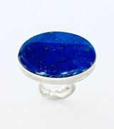 Sterling silver ring with Large oval Lapis lazuli stone size 8