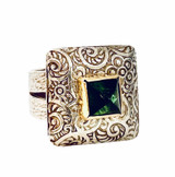 Sterling silver patterned ring with square cabochon blue-green tourmaline - 18k bezel