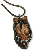 "Bay Cloisonne Horse Pendant - with garnet  18"" oxidized sterling silver wheat chain   1.125"" x 2.25"""