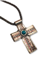 "Rustic Cross - sterling silver, copper with a turquoise cab  1.5"" x 1.75""   18"" oxidized sterling silver wheat chain 3mm"