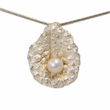 Sterling silver lychee textured pendant  with pearl