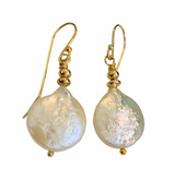Round Pearl Earrings with 14K GF Earwires and Beads
