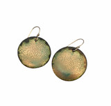 Gold and turquoise enamel disc earrings