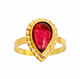 14k, 18k gold ring with pear shaped pink Tourmaline cabochon size 7