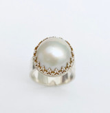 Sterling silver ring with white Mabe Pearl - size 8 3/4