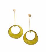 Sterling silver chartreuse enamel mobius earrings