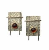 Sterling silver post earrings with hessonite garnet set in  14K.