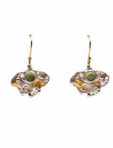 Sterling Silver, Peridot and 24K Gold Keum Boo Earrings