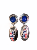 Sterling, Lapis and ceramic cabochon stud dangle earrings.