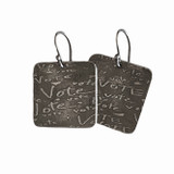 Sterling Silver Etched Square VOTE Earrings