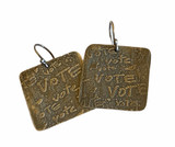 VOTE Sterling Silver Etched Earrings