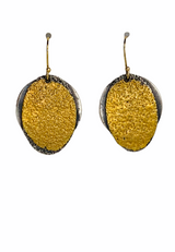 Sterling Silver and 24K Gold Keum Boo Oval Earrings with GF Ear Wires