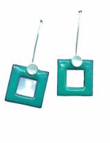 Aqua squares earrings.