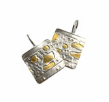 Sterling Silver and 24K Gold Keum Boo Etched Square Earrings  With 14K GF Ear Wires