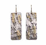 Sterling Silver and 24K Gold Keum Boo Fused Earrings  With 14K GF Ear Wires