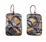Sterling Silver and 24K Gold  Oxidized Keum Boo  Earrings