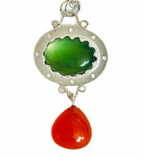 Sterling silver pendant with Prehnite cabochon and Carnelian drop