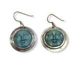 IRIDESCENT GLASS MOON FACE EARRINGS.SET IN STERLING SILVER