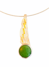 Sterling silver, 24K keumboo and aventurine pendant