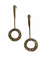 Elegant oxidized sterling silver post earrings with 24K gold accents.