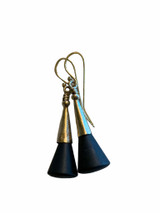 14K GF and Onyx Cone Earrings with GF Ear Wires