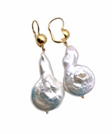Baroque Pearl and 18K Gold Earrings