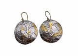 Sterling Silver and 24K Gold Keum Boo Round Fused and Etched Earrings
