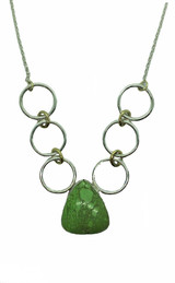 Fine & sterling silver and 14k gold necklace w/ a large beautiful apple green Gaspeite pendant. Handmade and one of a kind.