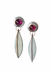 Sterling silver and rhodolite garnet post earrings  with enamel pod drops