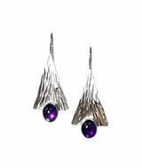 Sterling silver forged earrings with amethyst