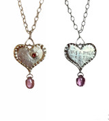 "Sterling and fine silver 3 hearts necklace w/ruby and tourmaline.  Message on reverse,""Heart's Desire"". 16-17"" long fine silver chain. One of a kind, designed and handmade by, J A Lindberg"