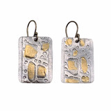 24K Gold Keum Boo and Sterling Silver Rectangle Earrings with 14K GF Earwires