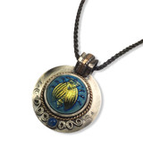 """IRIDESCENT GLASS BUG PENDANT SET IN STERLING SILVER WITH GOLD FILL ACCENTS AND 2.5MM OXIDIZED SILVER WHEAT CHAIN 18"""""""