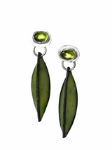 Sterling silver, peridot and green enamel pod earrings