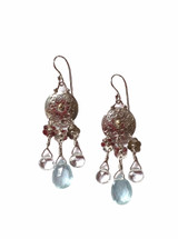 """Designed, handcrafted, and one of a kind fine and sterling silver drop earrings with aquamarines. A touch of 18k gold in the circle center. 1.5"""" long. Pretty any time of year for a March birthday, but perfect too for Spring and Summer.                                                                                By, J A Lindberg."""