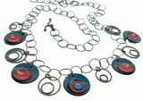 Blue & Red Enamel Bing Bong Necklace