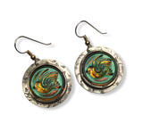 """IRIDESCENT BLUE GLASS BIRD EARRINGS SET IN 1"""" ROUND STAMPED STERLING SILVER WITH SILVER EAR WIRES"""