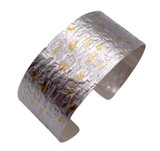 Sterling Silver and 24K Gold Keum Boo and Etched Cuff