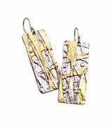 Sterling Silver and 24K Gold Keum Boo Split Earrings with 14K GF Earwires