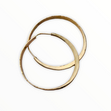 Hand forged 14K  gold filled hoops with 14K gold posts