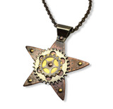 """HAMMERED COPPER STAR PENDANT WITH BRASS AND BRONZE AND RIVETED DETAILS. STERLING SILVER BALE AND OXIDIZED SILVER18""""ROLO CHAIN"""