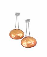 Orange/gold enamel and oxidized sterling silver earrings